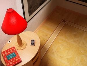 Визуализация фрагмента комнаты с паркетом, выбранным заказчиком