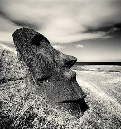 Michael Kenna. Moai, Study 26, Rano Raraku, Easter Island. 2000