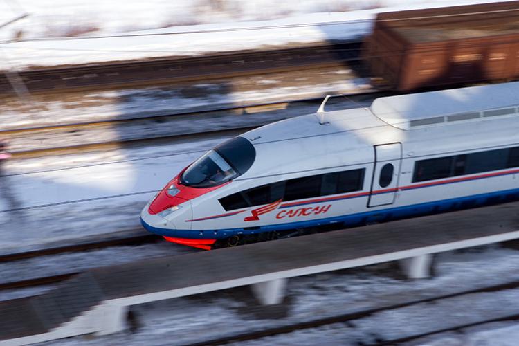 Скоростной поезд. Съемка объекта с проводкой