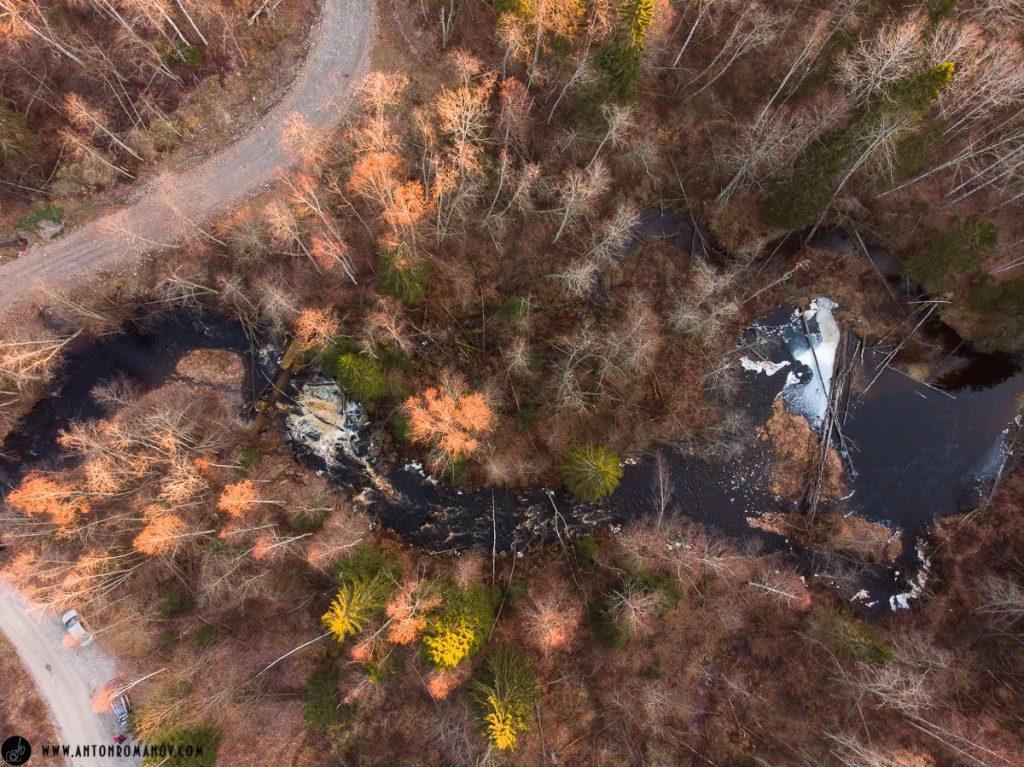 водопад Прокинкоски с воздуха